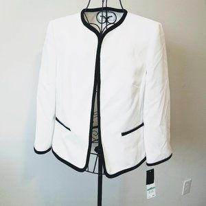 Le Suit Blazer Jacket 8 NWT White Black Lined L/S